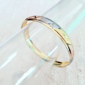 Tri Tone Etched Bangle Bracelet